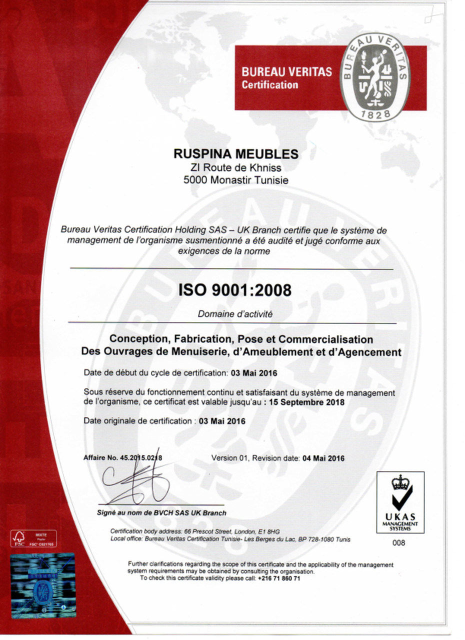 Ruspina Meubles Certification